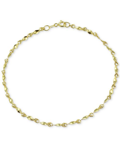 anklet bead color tri design ankle silver anklets gold bracelet sterling diamond cut fine pin