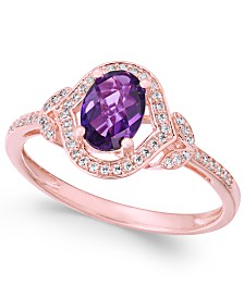 Amethyst (3/4 ct. t.w.) & Diamond (1/8 ct. t.w.) Ring in 14k Rose Gold (Also available in Opal, Blue Topaz & Citrine)