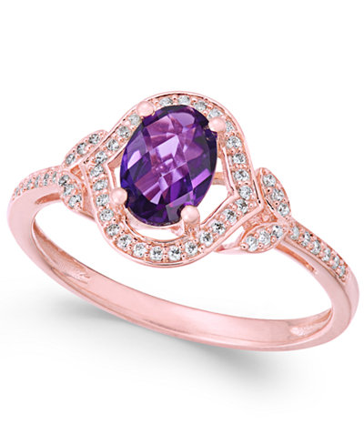 Amethyst (3/4 ct. t.w.) & Diamond (1/8 ct. t.w.) Ring in 14k Rose Gold