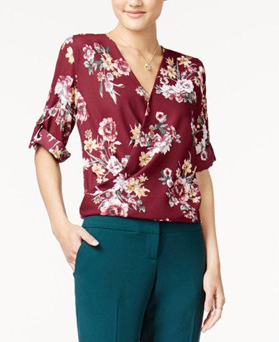BCX Juniors' Floral-Print Faux-Wrap Shirt