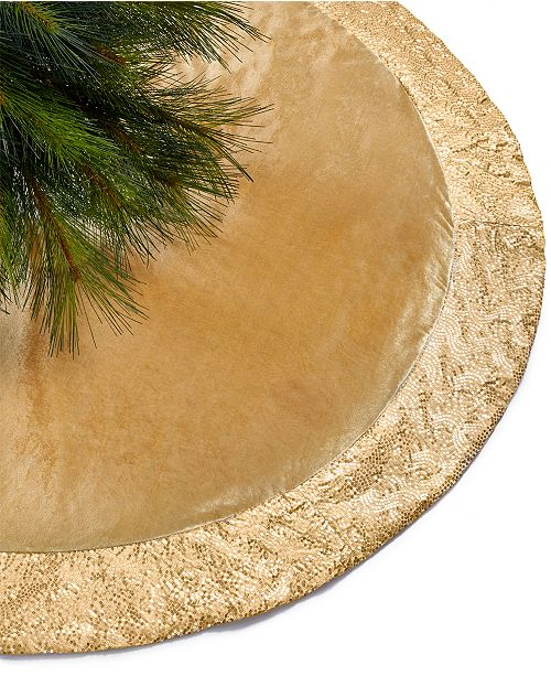 Holiday Lane Gold Sequin Border Tree Skirt Created For Macy S