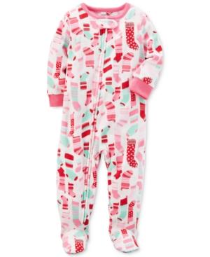 Carters 1Pc StockingPrint Footed Fleece Pajamas Baby Girls (024 months)