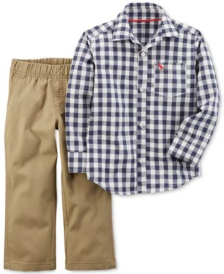 Image of Carter's 2-Pc. Cotton Check-Print Shirt & Pants Set, Baby Boys (0-24 months)