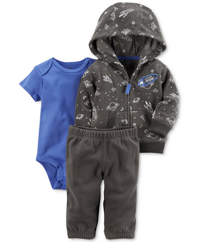 Carter's 3-Pc. Space-Print Fleece Hoodie, Bodysuit & Pants Set, Baby Boys