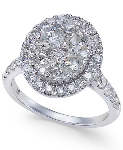 Diamond Oval Halo Cluster Engagement Ring (2 ct. t.w.) in 14k White Gold