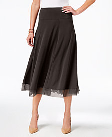 JM Collection Mesh-Hem A-Line Skirt, Created for Macy's