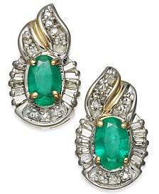 Emerald (1 ct. t.w.) & Diamond (1/4 ct. t.w.) Stud Earrings in 14k Gold