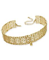 M.Haskell for INC International Concepts Gold-Tone Crystal Lace Choker Necklace, Created for Macy's
