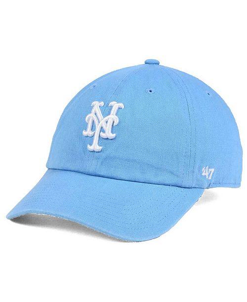 '47 Brand Women's New York Mets Powder Blue/White CLEAN UP Cap