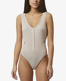 Avec Les Filles Cotton Bodysuit with Mesh Inset