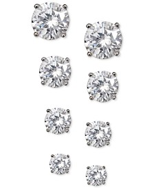 Giani Bernini 4-Pc. Set Cubic Zirconia Stud Earrings in Sterling Silver, Created for Macy's