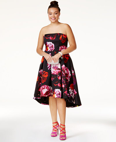 City Chic Plus Size Strapless Printed High-Low Dress