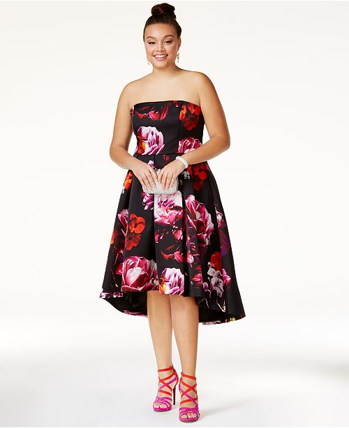 City Chic Plus Size Strapless Printed High-Low Dress ...