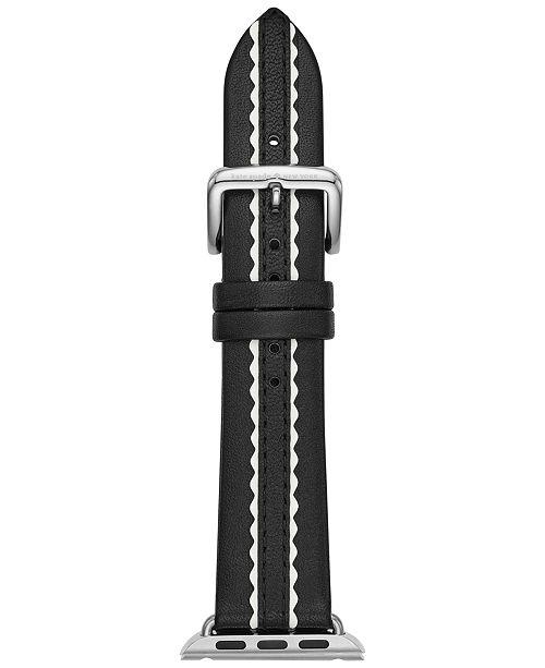 ... Strap 38mm  kate spade new york Women s Black Leather Apple Watch reg   ... 254757657f