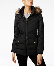 MICHAEL Michael Kors Petite Faux-Fur-Trim Hooded Coat