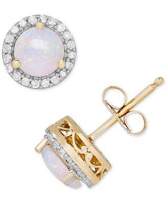 Macy S Birthstone Diamond 1 8 Ct T W Halo Stud Earrings In 14k