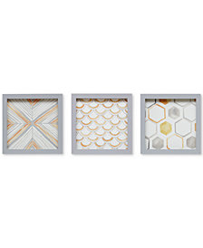 Intelligent Design Sorbet & Grey 3-Pc. Framed Gel-Coated Wall Art Set