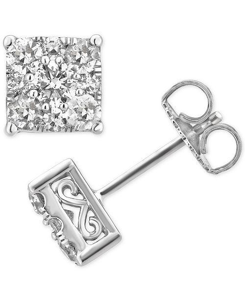 9dddfe889 Macy's Diamond Square Cluster Stud Earrings (1 ct. t.w.) in 14k White Gold