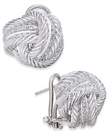 Diamond Knot Stud Earrings (1/4 ct. t.w.) in Sterling Silver