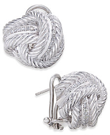 Diamond Knot Stud Earrings (1/4 ct. t.w.) in Sterling Silver
