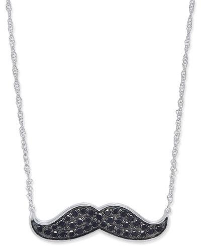 Diamond Mustache Pendant Necklace (1/4 ct. t.w.) in 14k White Gold