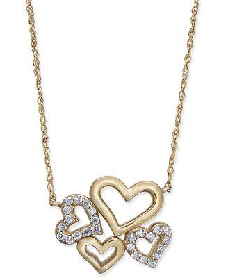 Diamond Multi-Heart Pendant Necklace (1/5 ct. t.w.) in 14k Gold