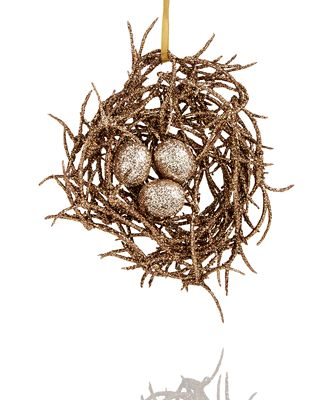 Holiday Lane Bird Nest With Gold Glitter Eggs Ornament, Created for
