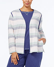 Nautica Plus Size Brushed Jersey Pajama Cardigan