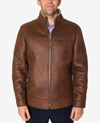 Buffalo David Bitton Men S Brown Faux Leather Jacket Coats