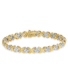 Diamond Cluster X Link Bracelet (2 ct. t.w.) in 14k Gold and White Gold