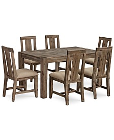 """Canyon Small  7-Pc. Dining Set, (60"""" Dining Table & 6 Side Chairs), Created for Macy's"""