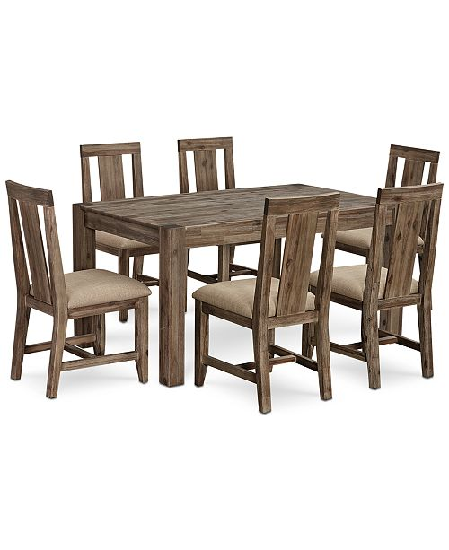 "Furniture Canyon Small  7-Pc. Dining Set, (60"" Dining Table & 6 Side Chairs), Created for Macy's"