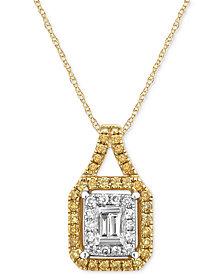 Diamond Two-Tone Pendant Necklace (3/8 ct. t.w.) in 14k Gold