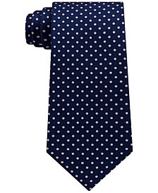 Tommy Hilfiger Men's Solid Polka Dot Silk Tie