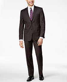 Lauren Ralph Lauren Men's Big & Tall Slim-Fit Chocolate Brown Glen Plaid Total-Stretch Suit