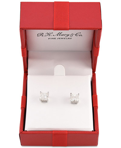 Certified Diamond Princess Stud Earrings (2 ct. t.w.) in 14k White Gold