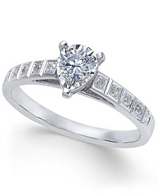 Diamond Miracle-Plate Pear Shape Engagement Ring (3/8 ct. t.w.) in 14k White Gold
