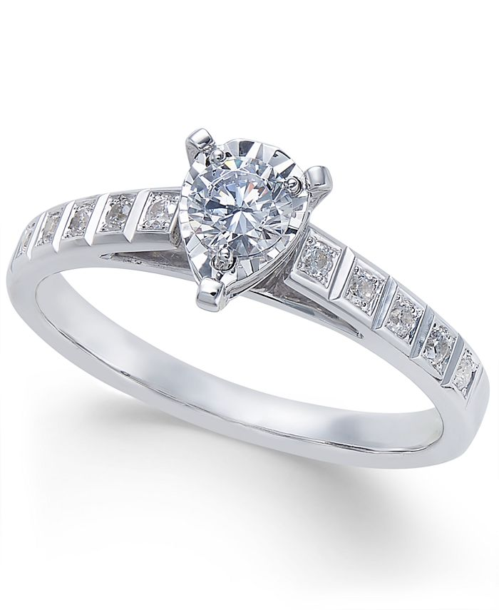 Macy's - Diamond Miracle-Plate Engagement Ring (3/8 ct. t.w.) in 14k White Gold