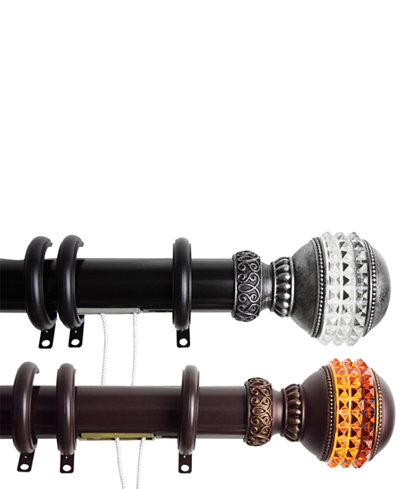 Rod Desyne Gemstone Finial Decorative Traverse Rods with Rings
