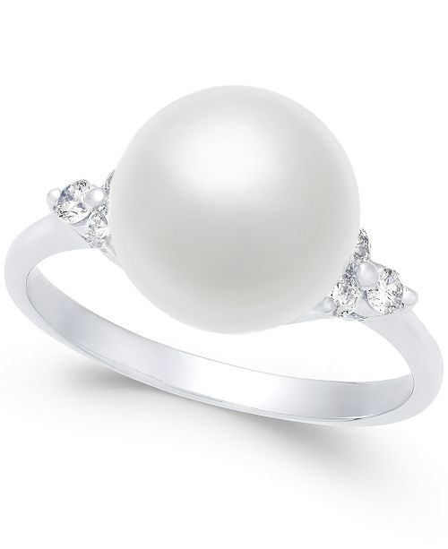 Macy's Cultured Freshwater Pearl (10mm) & Diamond (1/4 ct. t.w.) Ring in 14k Gold and White Gold