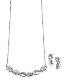 Charter Club Silver-Tone Pavé Twist Pendant Necklace and Drop Earrings Set, Created for Macy's