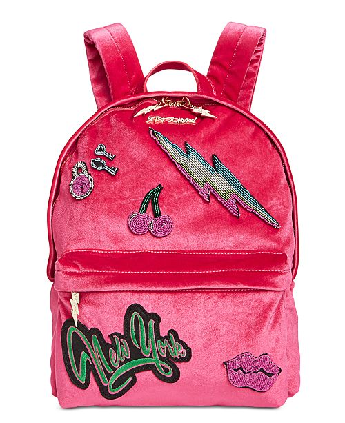 Betsey Johnson Velvet Backpack  Betsey Johnson Velvet Backpack ... 235fae0e3042a