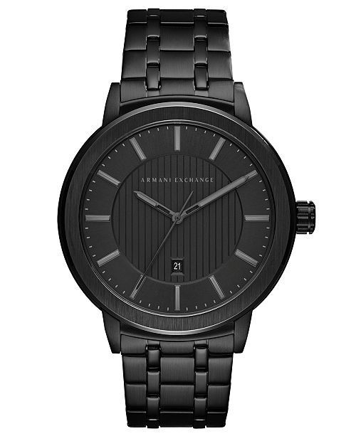 Armani Exchange A|X Men's Maddox Black Stainless Steel Bracelet Watch 46mm