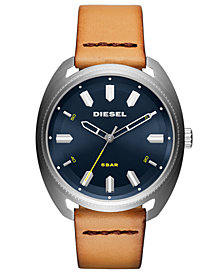 Diesel Men's Fastbak Tan Leather Strap Watch 45mm