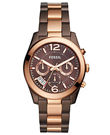 Fossil Women's Perfect Boyfriend Brown & Rose Gold-Tone Stainless Steel Bracelet Watch 39mm