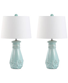 Decorator's Lighting Set of 2 White Starfish Table Lamps