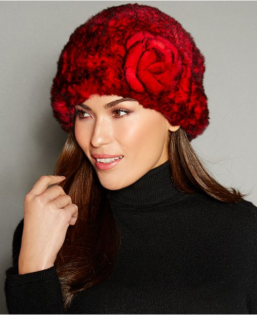 61a20c8118171 The Fur Vault Rosette Knitted Rex Rabbit Fur Hat   Reviews - The Fur ...