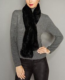 The Fur Vault Rosette Knitted Rex Rabbit Fur Scarf