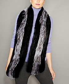 Fox-Trim Knitted Rex Rabbit Fur Stole