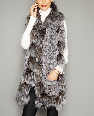 The Fur Vault Fox Trim Knitted Chinchilla Fur Scarf